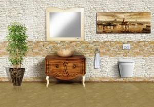 Defne  ahşap banyo dolabı