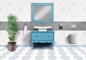 firuze  ahşap banyo dolabı